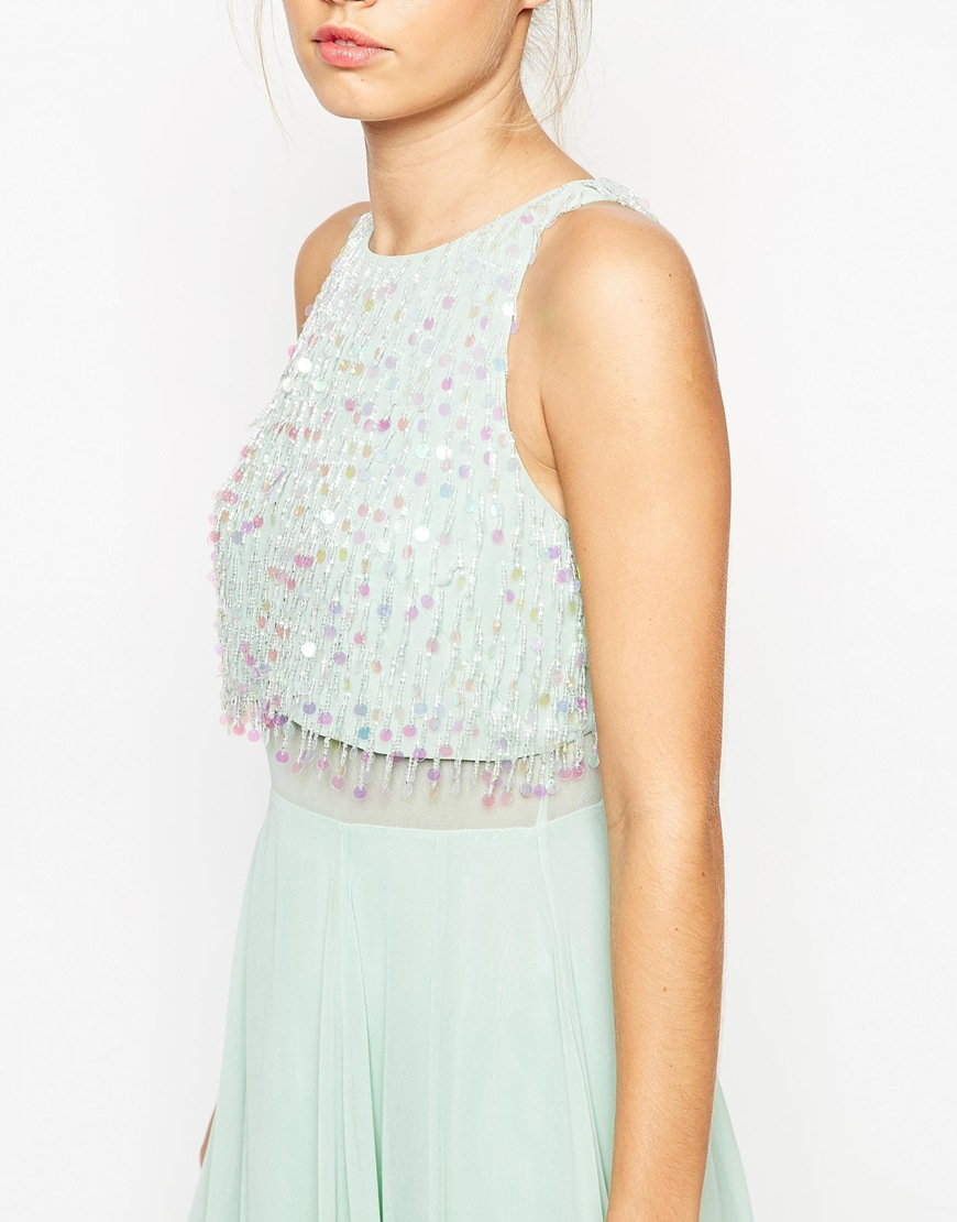 Asos green sequin maxi dress