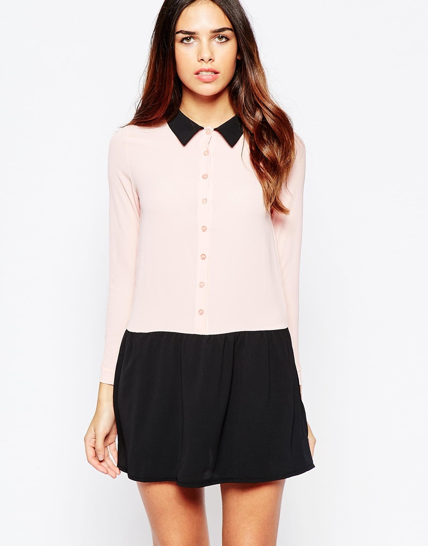 Wal G Shirt Dress With Contrast Skirt And Collar In Pink