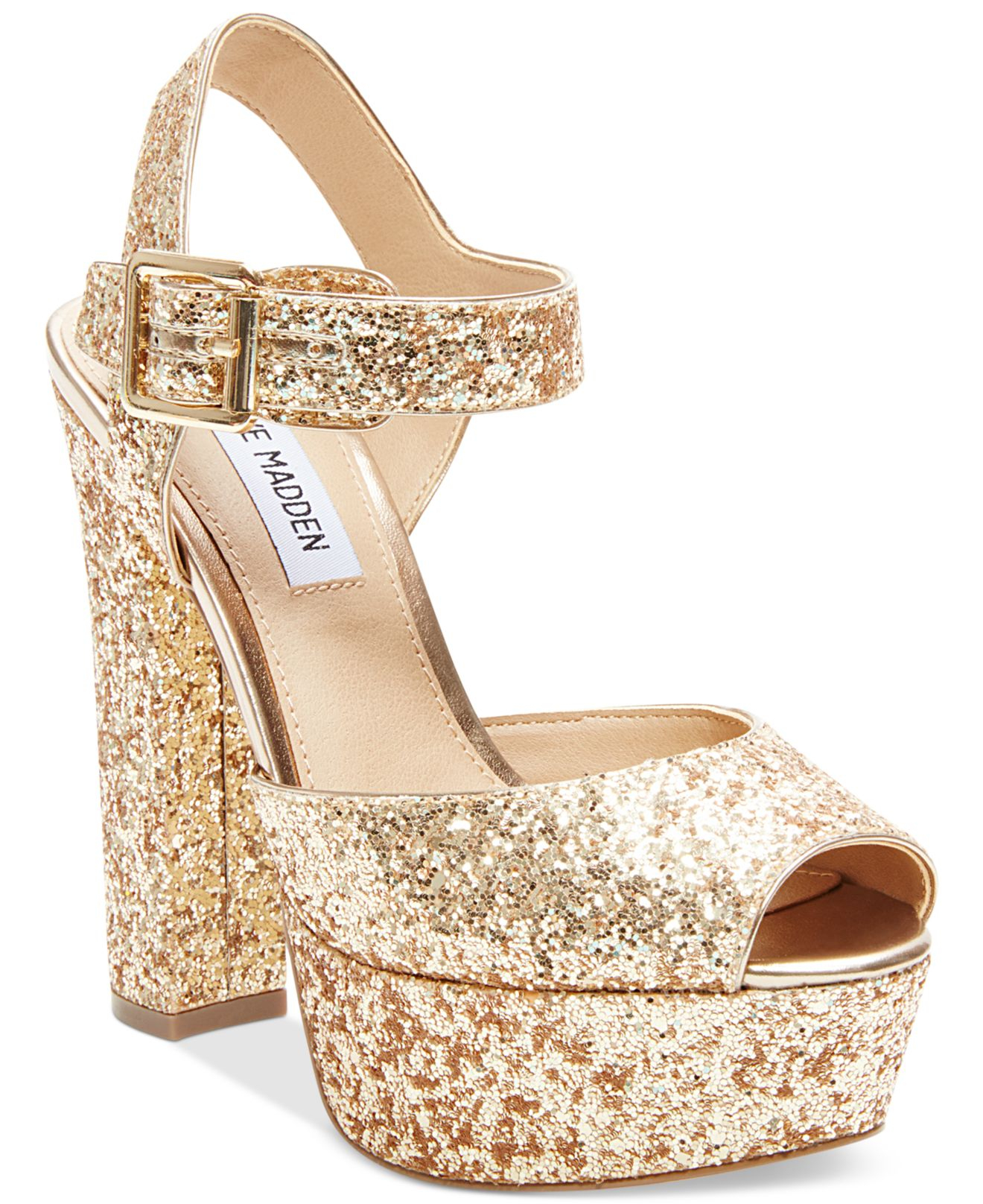 2e1cea5a0 Steve Madden Jillyy Two-piece Platform Dress Sandals in Metallic - Lyst
