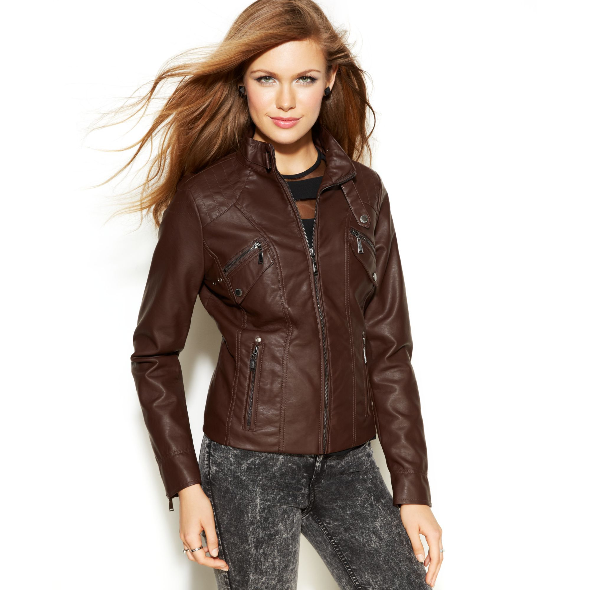 Brown Pleather Jacket - Coat Nj