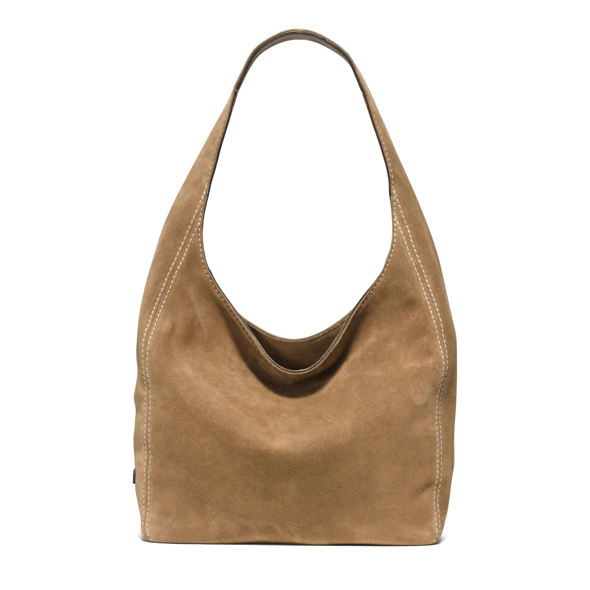 Michael kors Lena Large Suede Shoulder Bag in Brown | Lyst