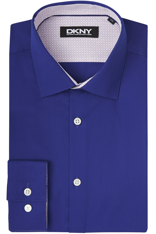 Dkny slim fit navy single cuff sateen stretch shirt in for Single cuff dress shirt