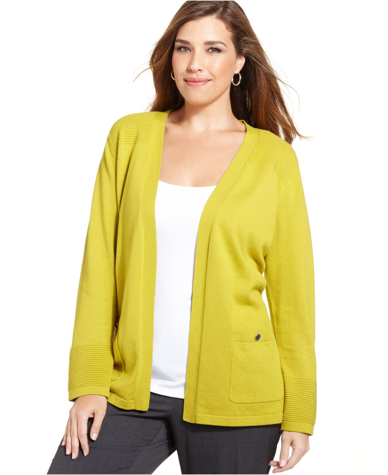 Jones new york Collection Plus Size Open-Front Cardigan in Yellow ...