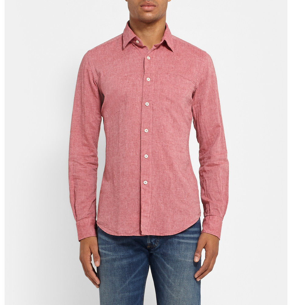 Incotex slim fit linen and cotton blend shirt in red for for Slim fit cotton shirts
