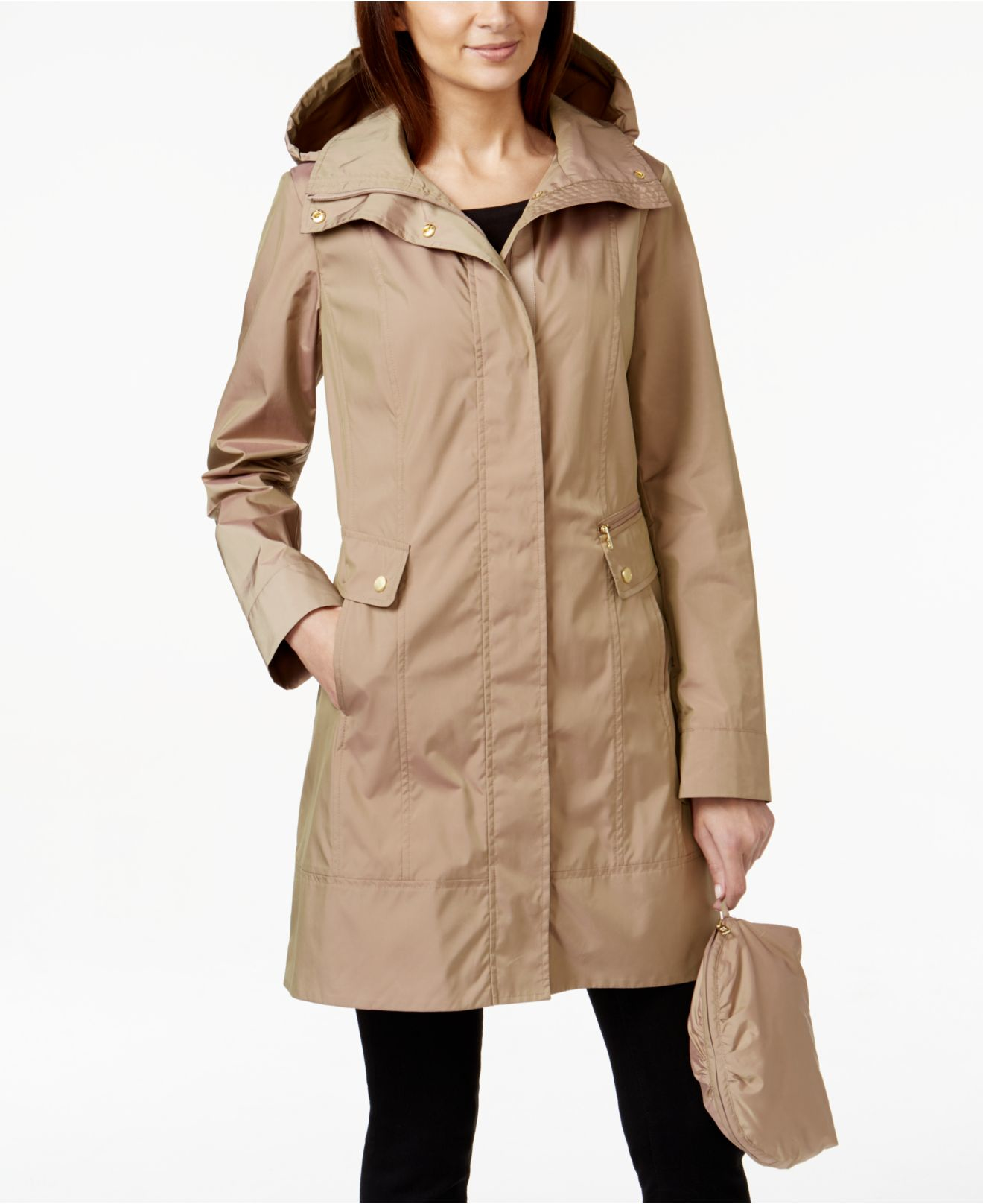 Cole Haan Packable Hooded Raincoat In Natural Lyst