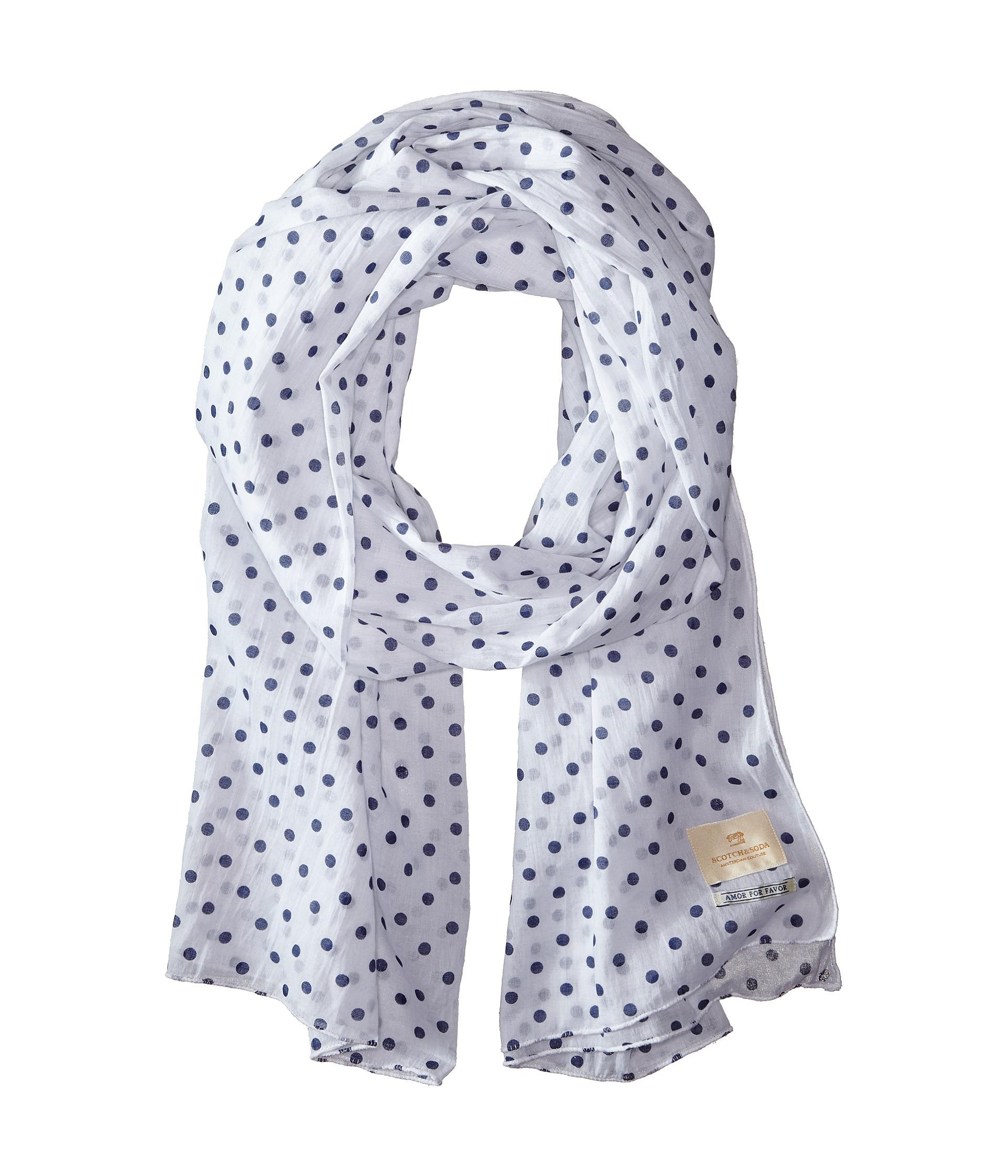 scotch soda printed polka dot gentleman scarf in blue
