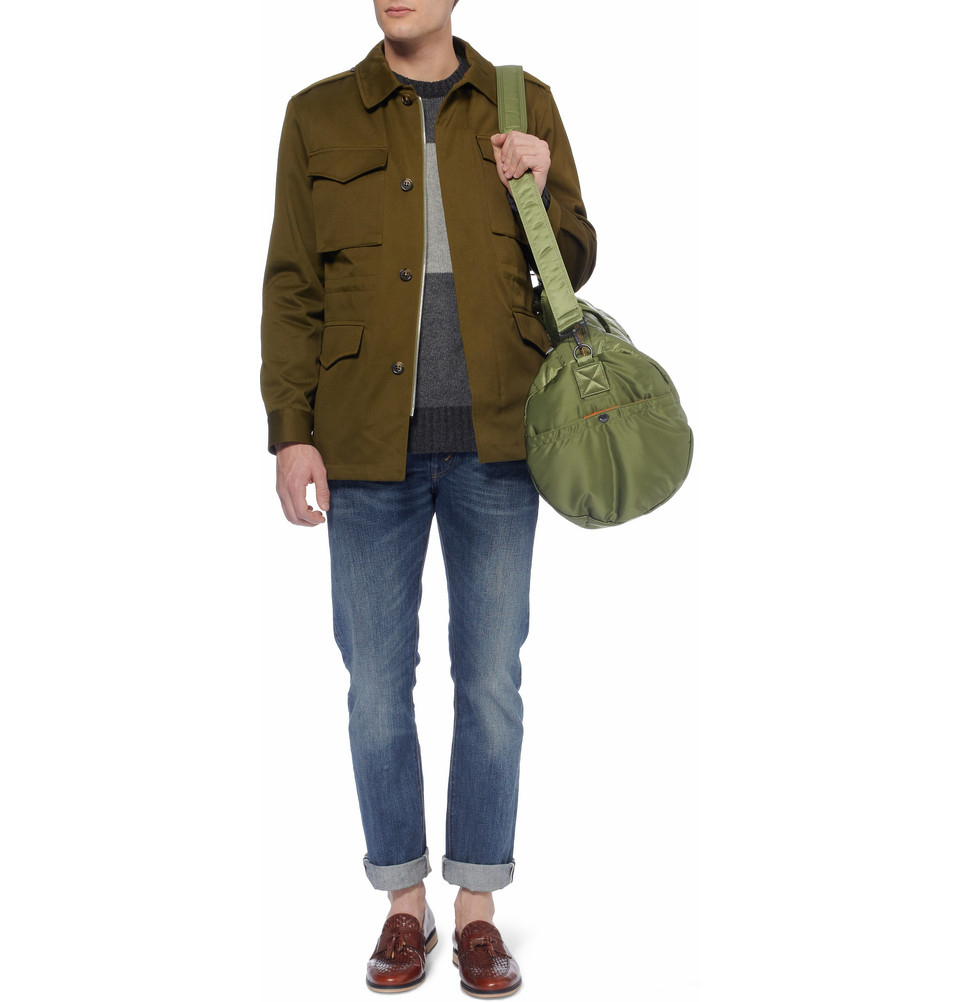 Porter tanker quilted satin canvas holdall in green for for Men a porter