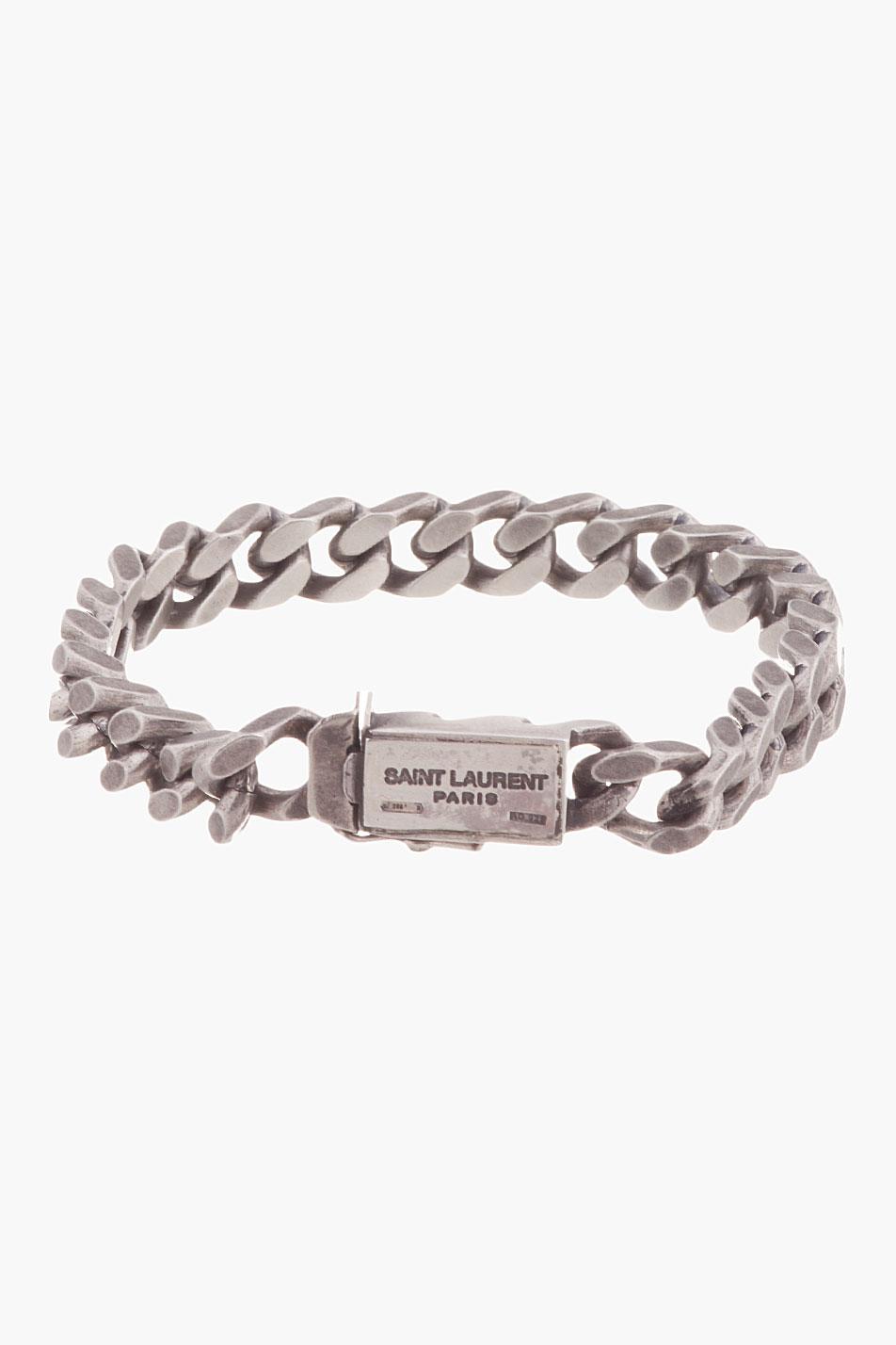 Lyst Saint Laurent Antiqued Silver Curb Chain Gormette