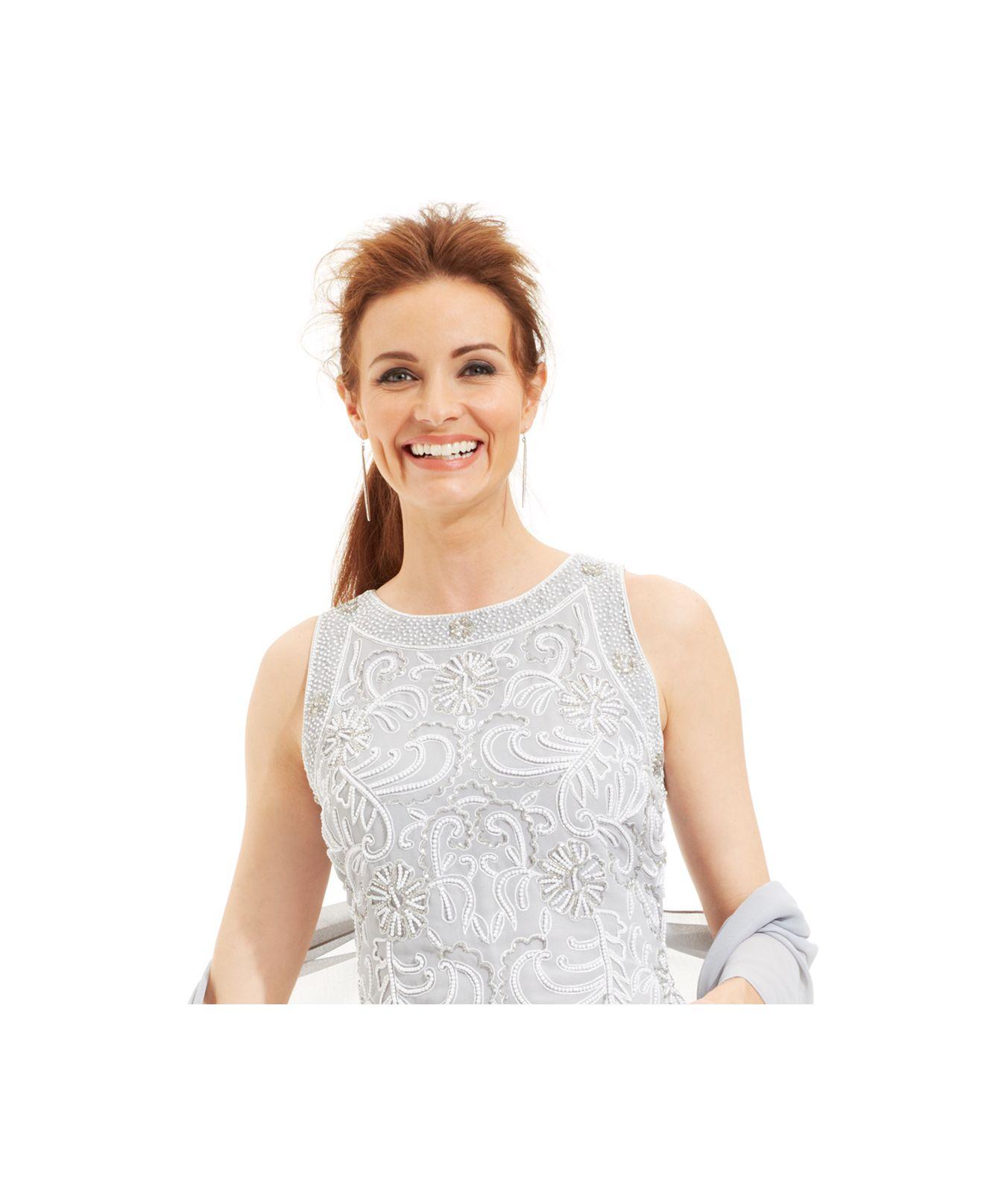 Lyst - J Kara Beaded Bodice Chiffon Gown And Shawl in Metallic