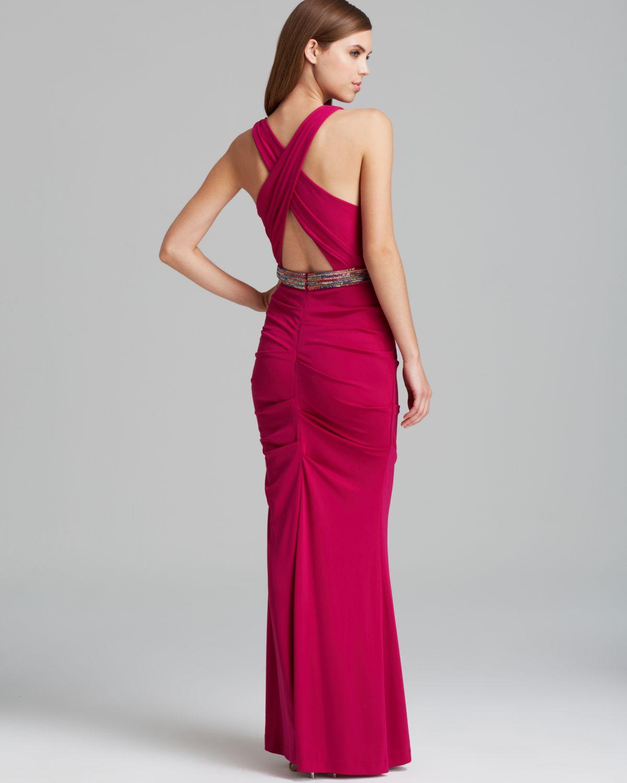 Nicole Miller Gown Double V Neck Matt Jersey Sequin Embellished in ...