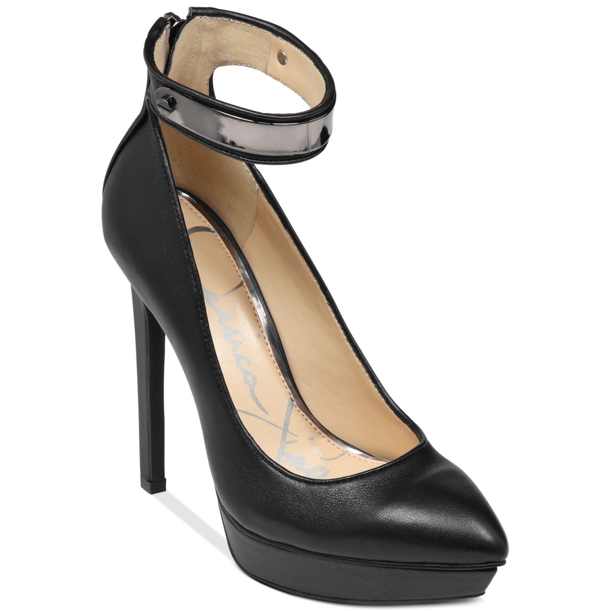Jessica simpson Voilla Ankle Strap Platform Pumps in Black | Lyst