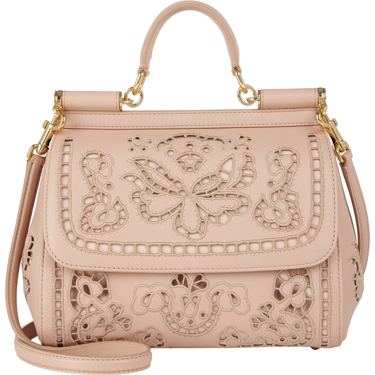 9ec552133f62 Lyst - Dolce   Gabbana Cutwork-Embroidered Miss Sicily Bag in Natural