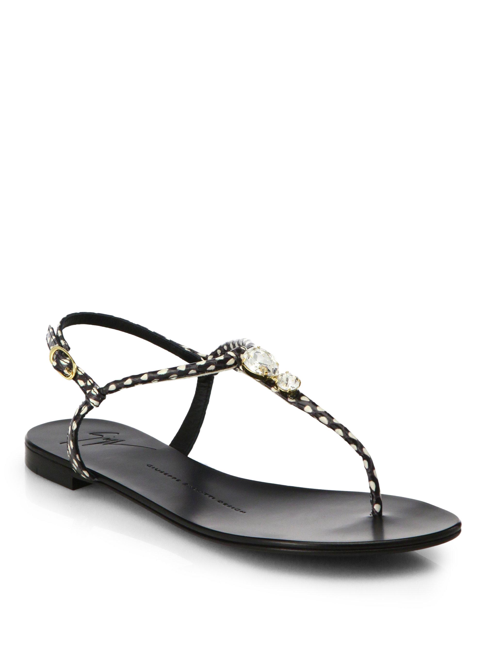 Giuseppe Zanotti Patent Jeweled Flat Thong Sandals, Black