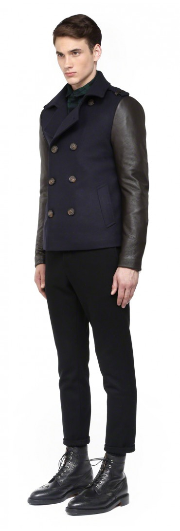 Mackage Yale-F4 Navy Wool Peacoat With Leather Sleeves in Blue for ...
