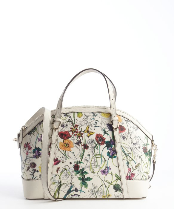 Gucci Floral and White Canvas Double Gg Shoulder Bag in White | Lyst