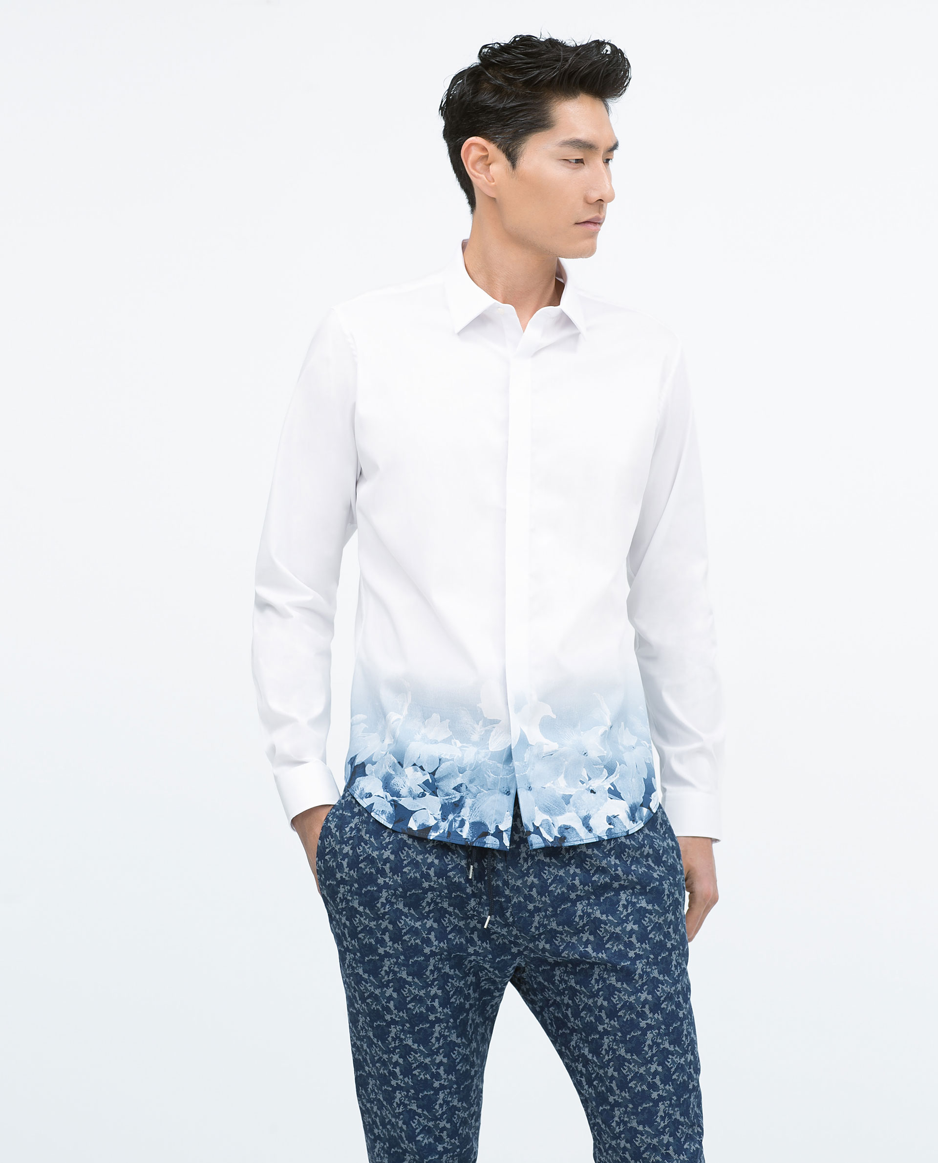 Zara shirt with printed hem in white for men lyst for Zara mens shirts sale