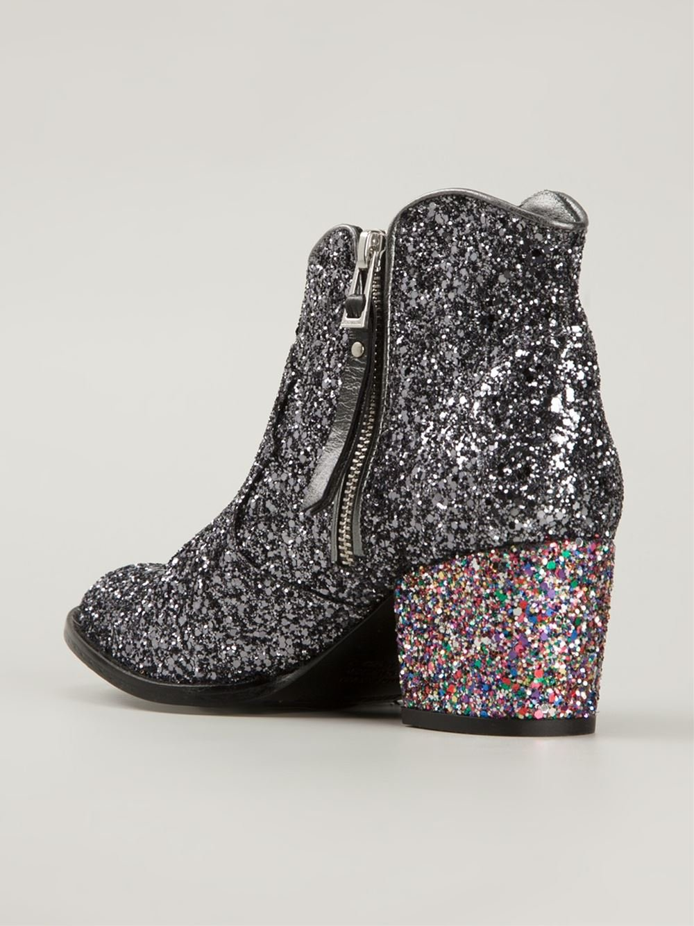 Lyst Zadig Amp Voltaire Glitter Ankle Boots In Metallic