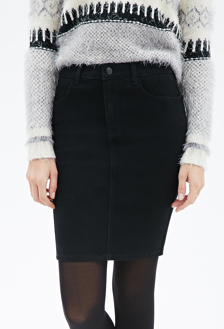 Forever 21 Knee-length Denim Skirt in Black | Lyst