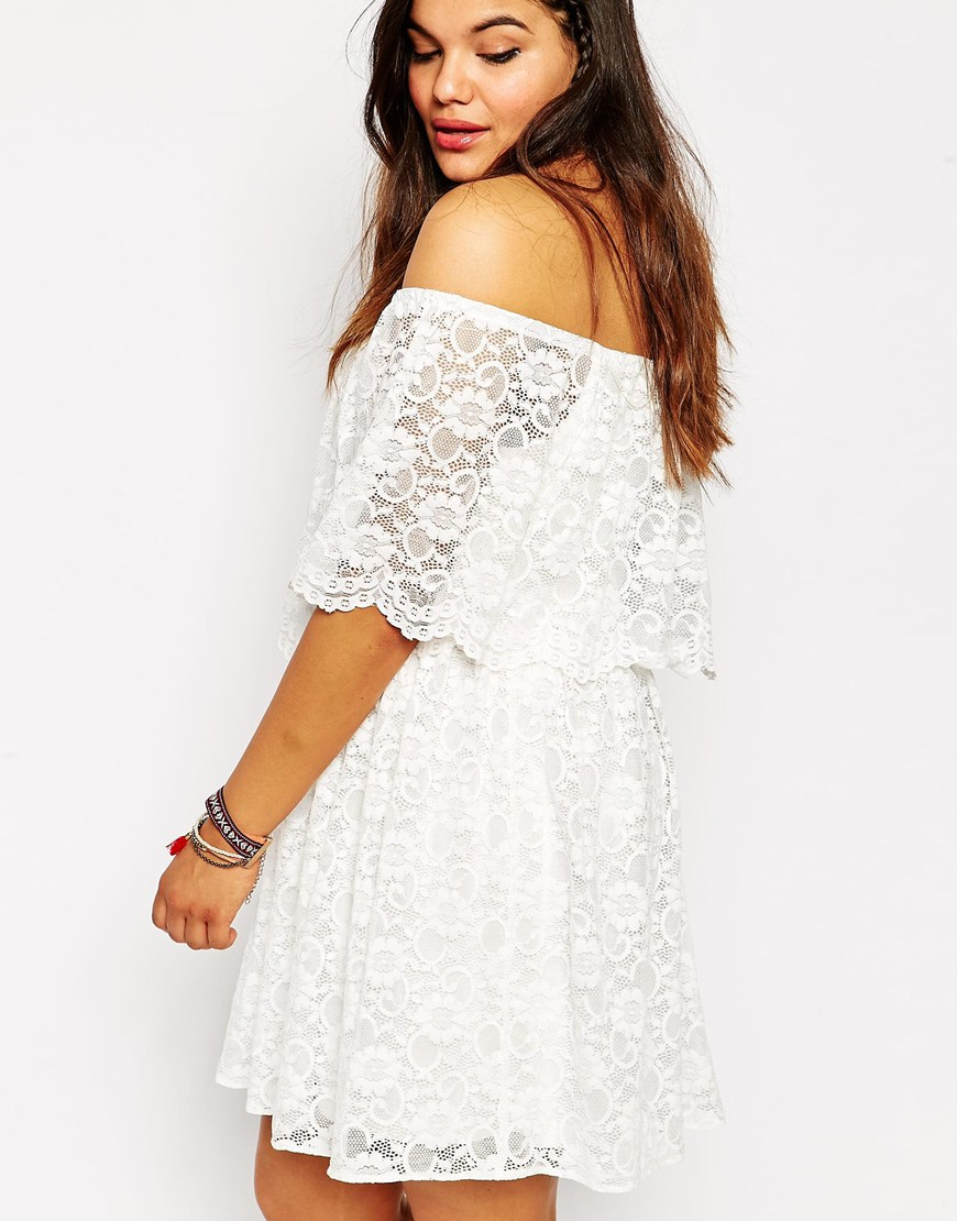 5f4db064fd670 Lyst - ASOS Cold Shoulder Dress In Gypsy Lace in White
