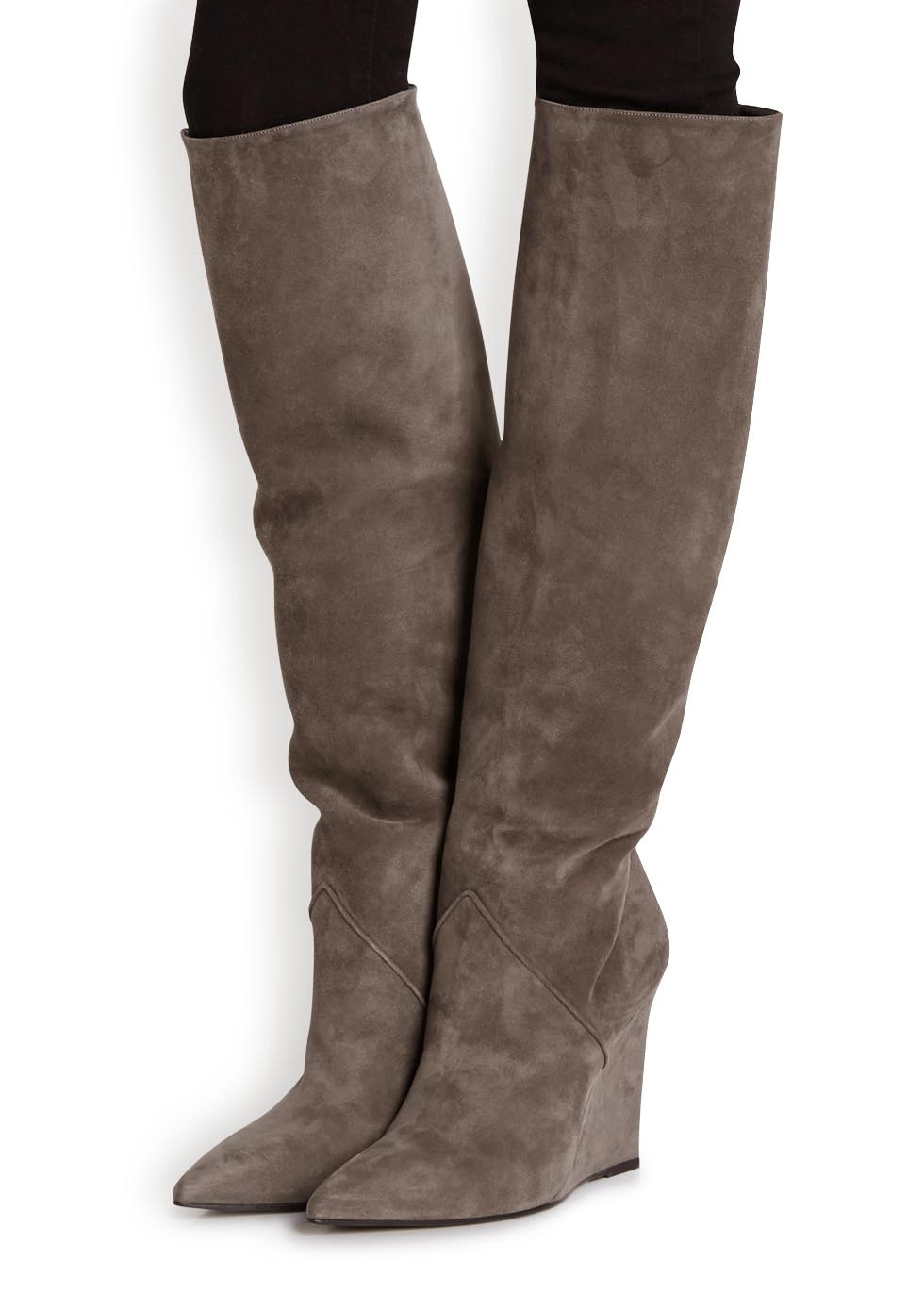 0a2ef3aa6f5 Saint Laurent Grey Wedge Suede Knee Boots in Gray - Lyst