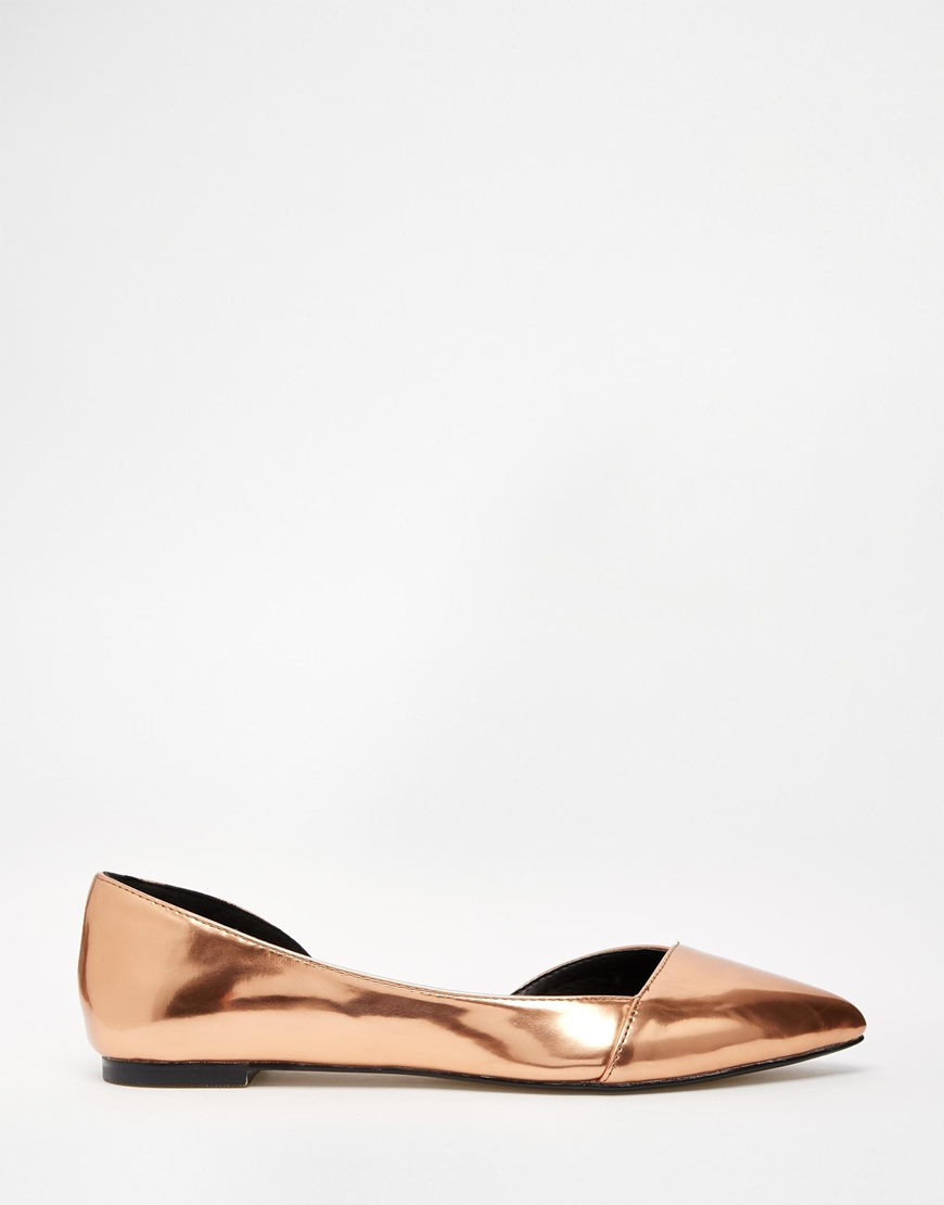 c06a6866b95 Lyst - ASOS Look Back Wide Fit Pointed Ballet Flats in Metallic