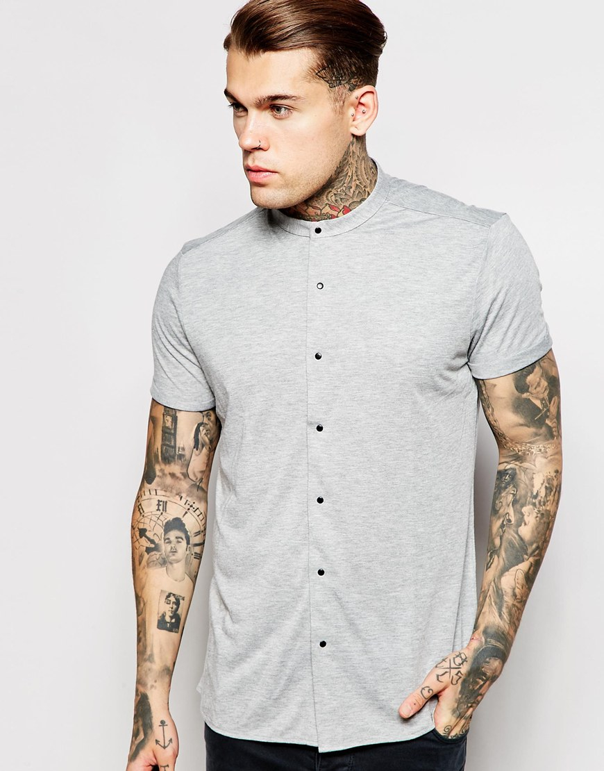 Asos jersey shirt in short sleeve with grandad collar in Mens grandad collar shirt