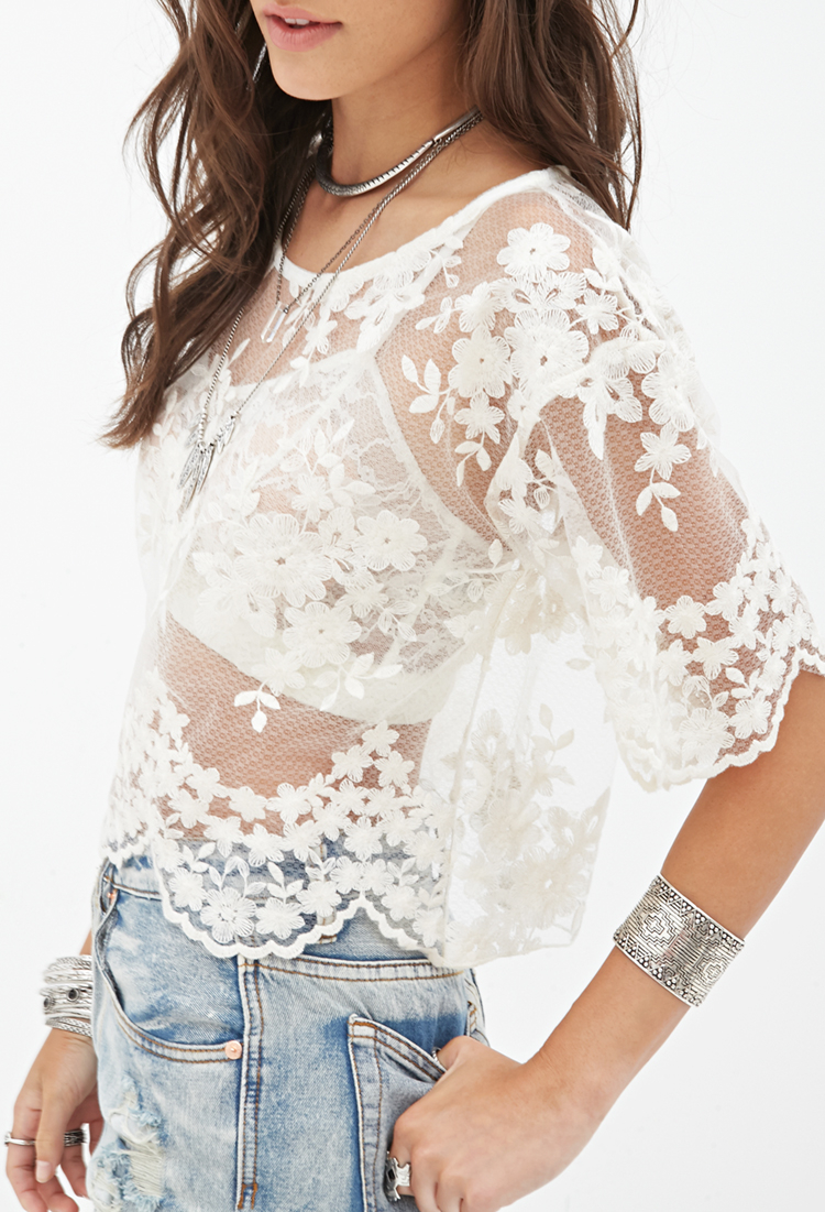 Lyst Forever 21 Embroidered Sheer Top In White