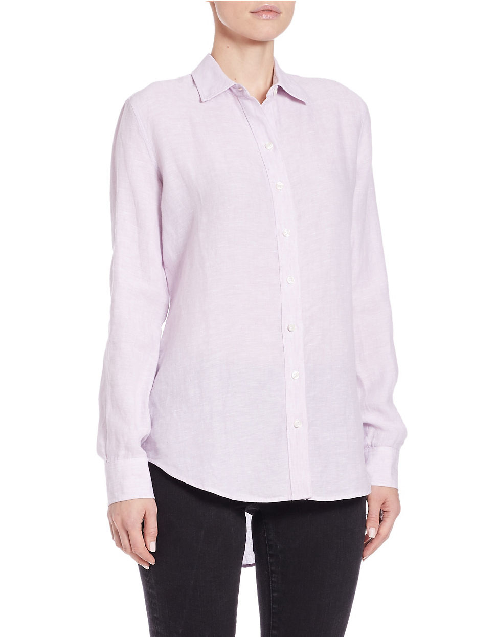 Lord Taylor Linen Hi Low Casual Shirt In Purple Lyst