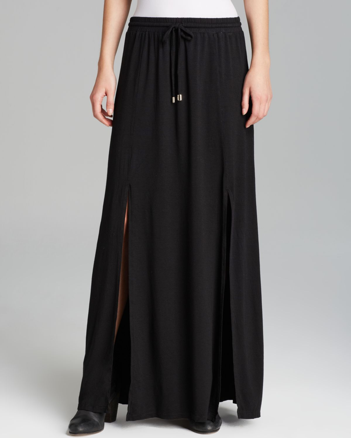 michael maxi skirt front slit in black lyst