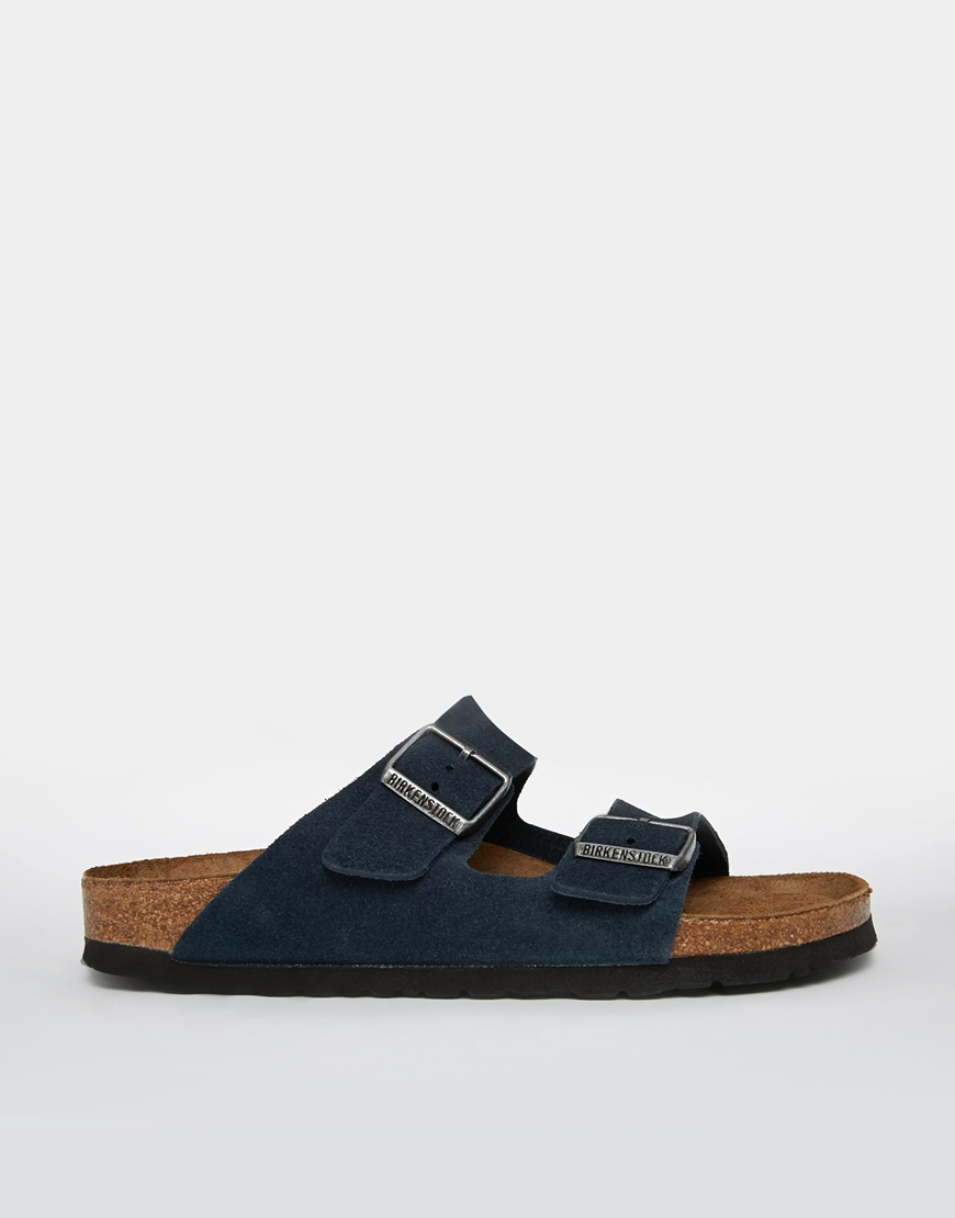 Lyst Birkenstock Arizona Navy Suede Leather Flat Sandals
