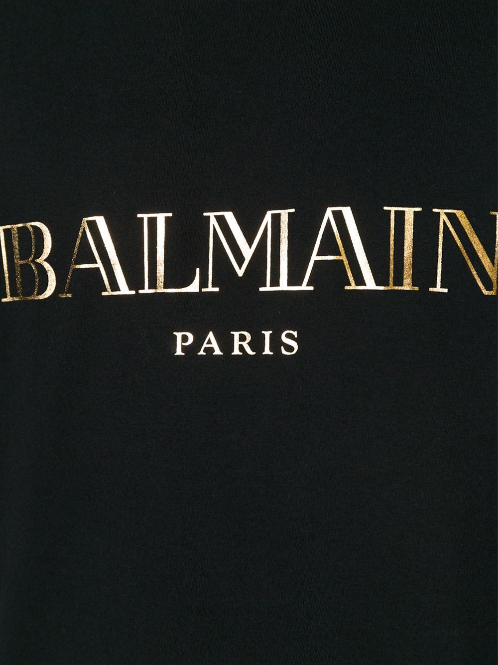 balmain logo motif tshirt in black for men lyst