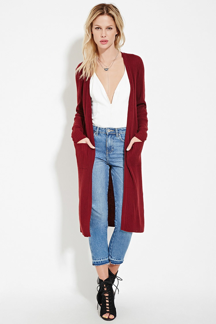 Forever 21 Open-front Longline Cardigan in Red | Lyst
