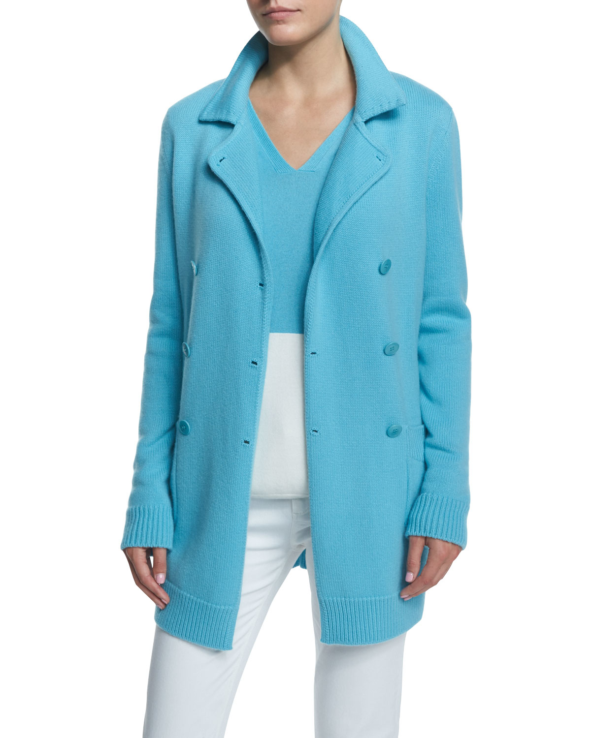 Loro piana Double-breasted Cashmere Sweater Jacket in Blue | Lyst