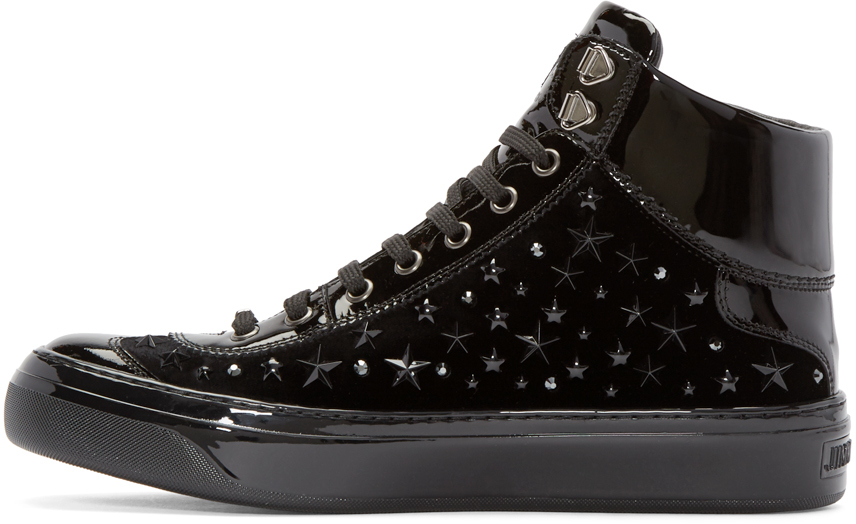 0b187874b62487 Jimmy Choo Black Velvet Stars Argyle High-top Sneakers in Black for ...