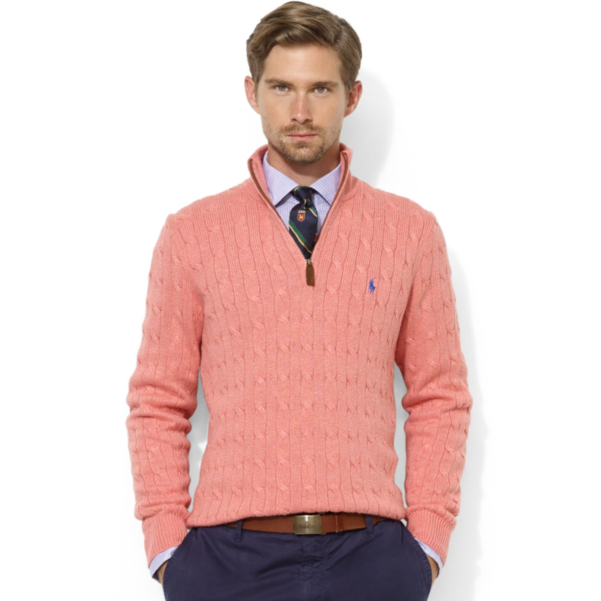 Ralph lauren Halfzip Cable Knit Tussah Silk Sweater in Pink for ...