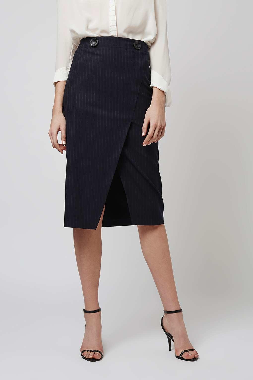 topshop pinstripe wrap midi skirt in blue lyst