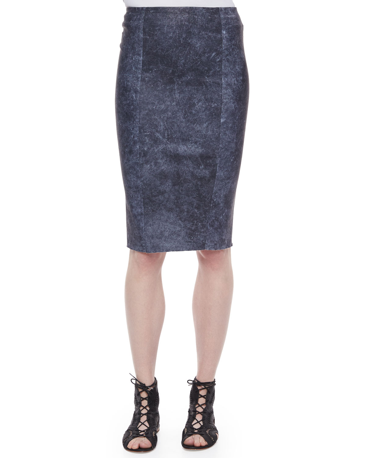 elie tahari leather pencil skirt in blue lyst
