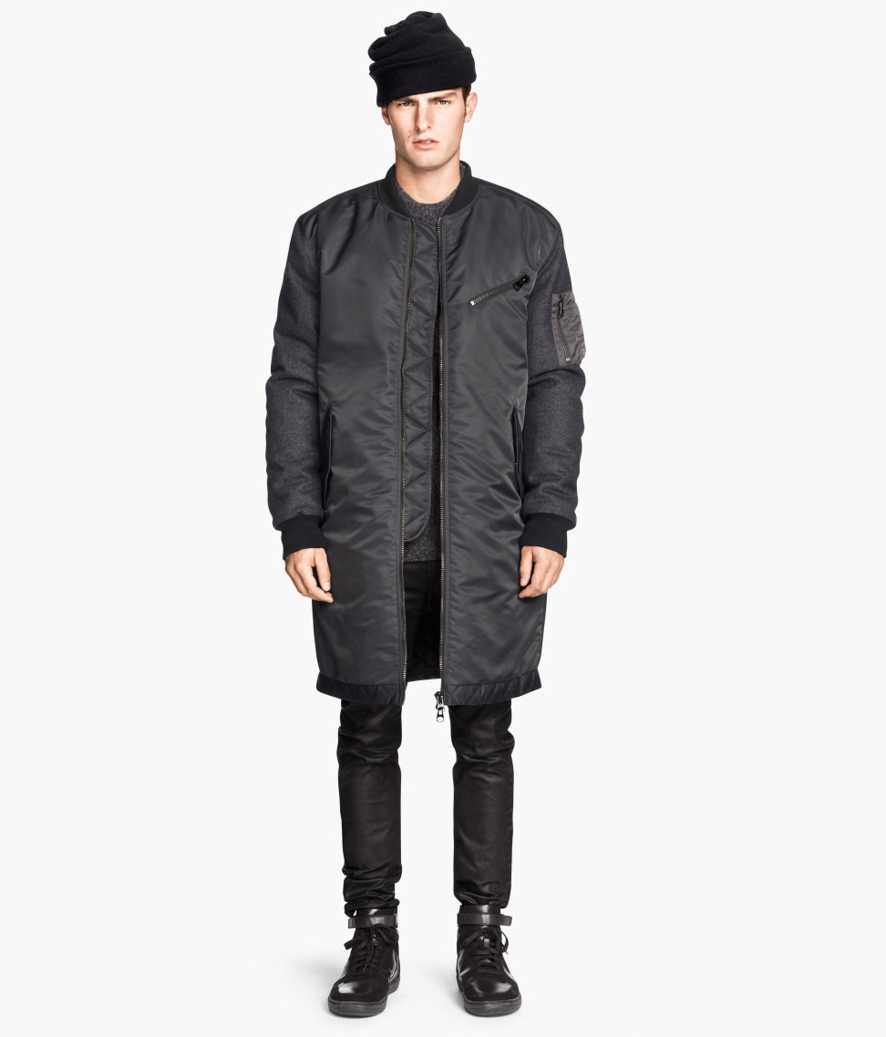 H&m Long Bomber Jacket in Gray for Men | Lyst