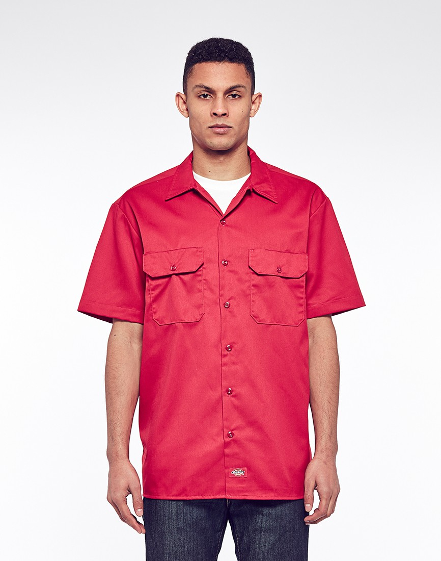 Lyst dickies 1574 short sleeve work shirt in red for men for Dickey shirts clothing co