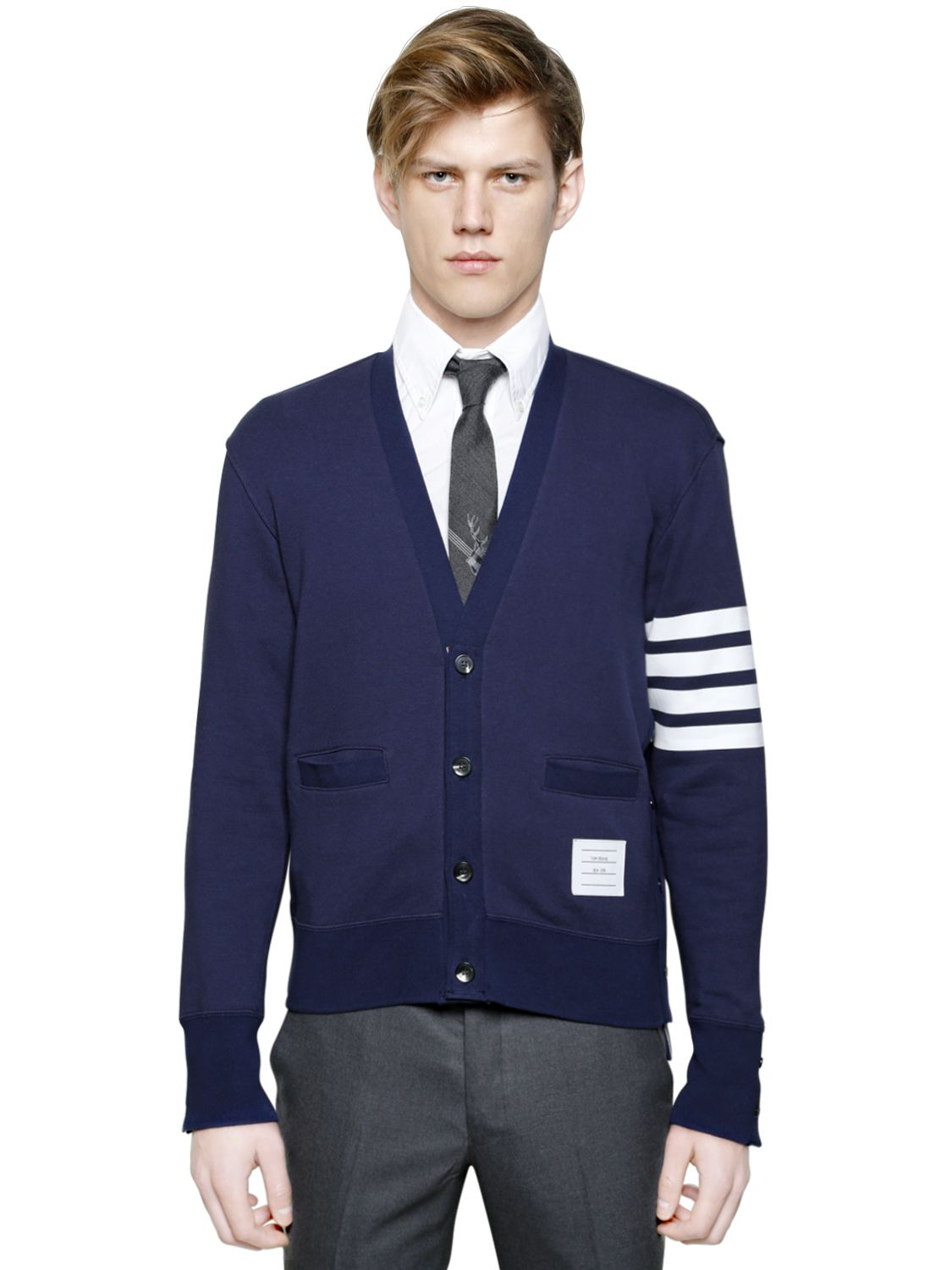 Thom browne Cardigan Style Cotton Sweatshirt in Blue for Men | Lyst