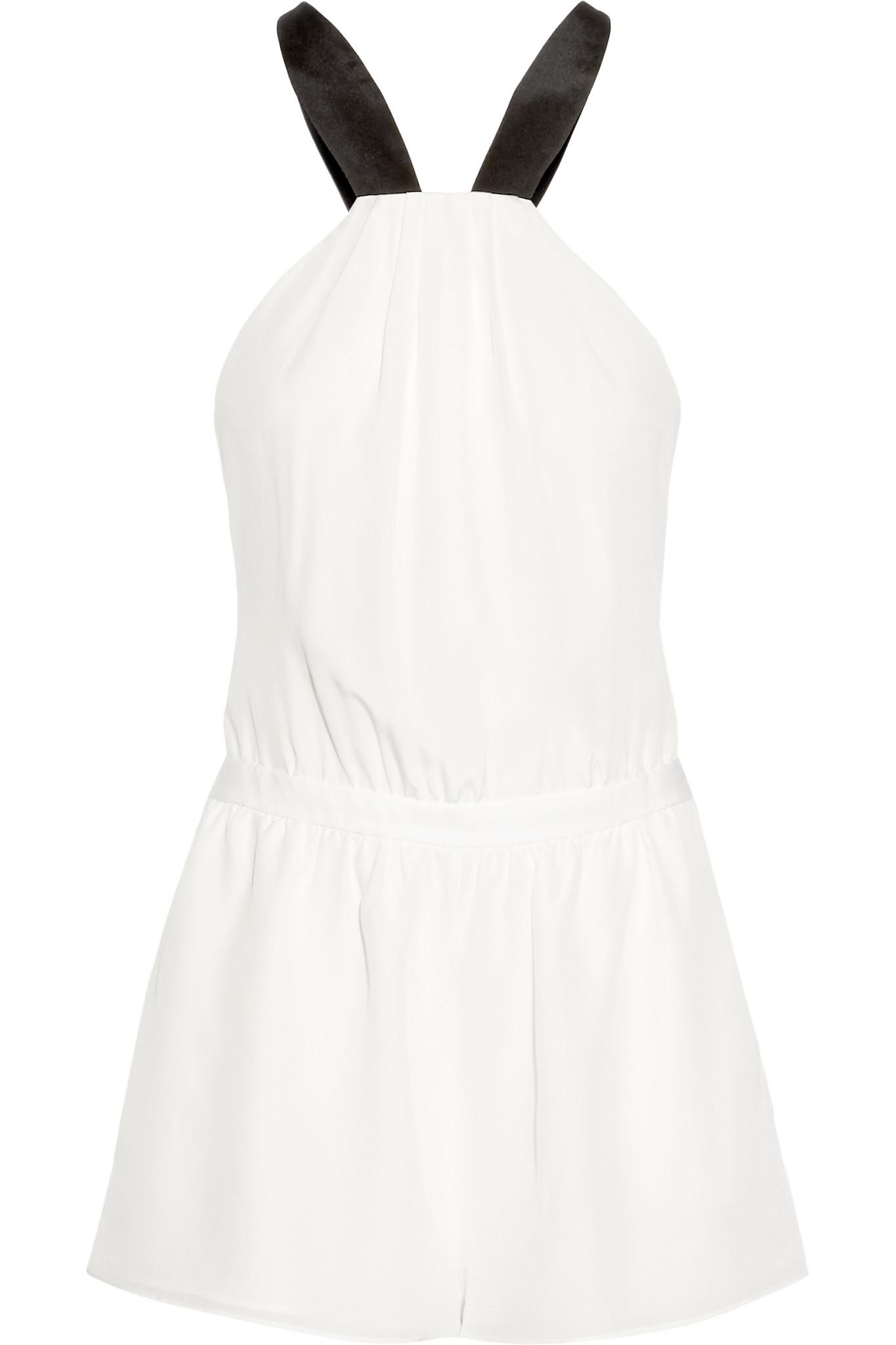 c6a27984fb5 Lyst - Fleur du Mal + Playboy Silk Crepe De Chine Playsuit in White