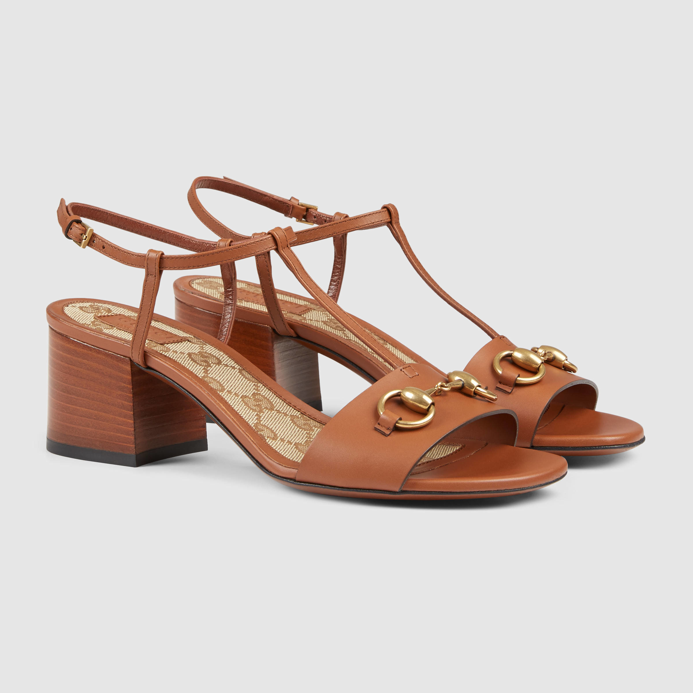 1099f918f9b Lyst - Gucci Leather Mid-heel Sandal in Brown