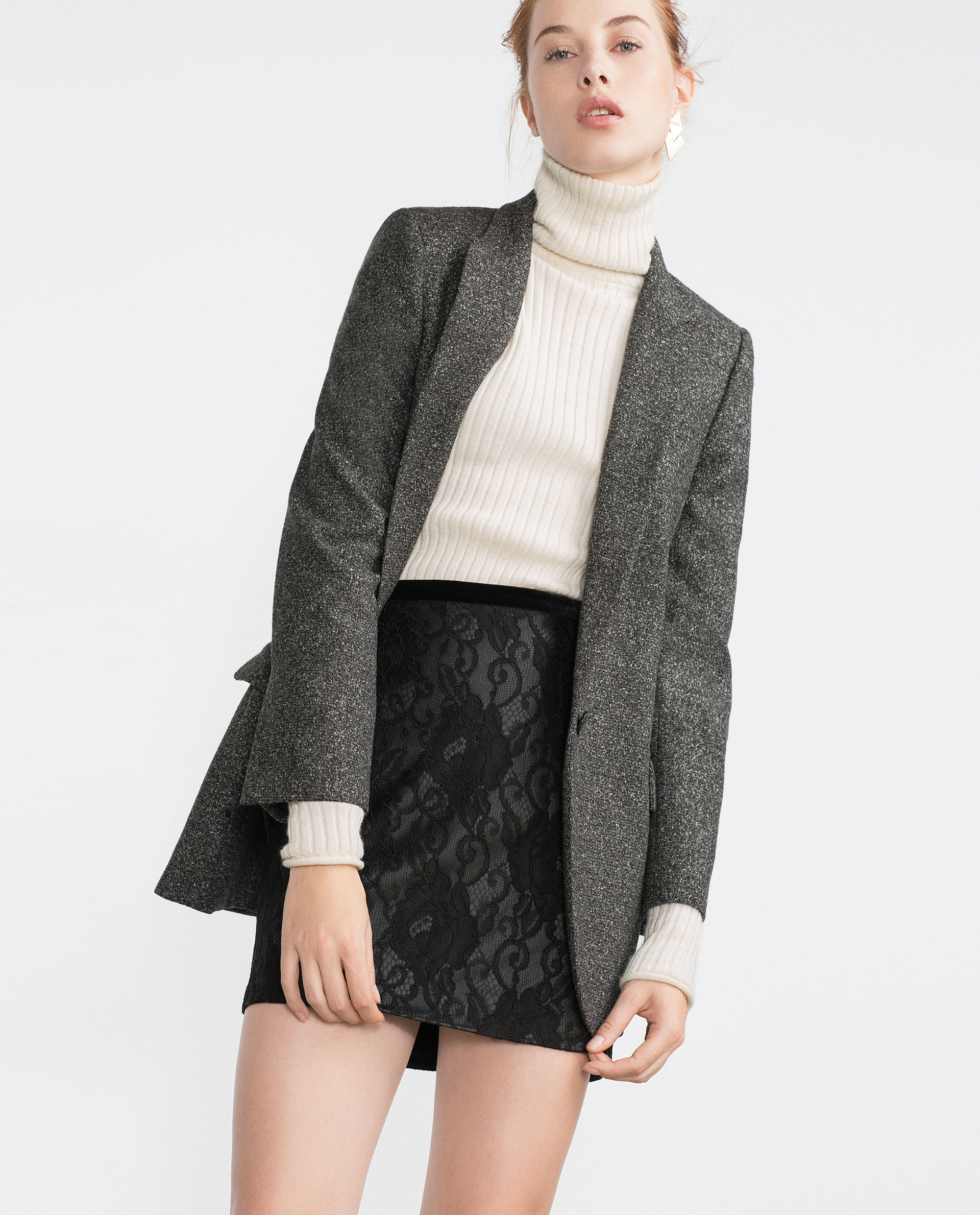 Zara Faux Leather And Lace Skirt in Black | Lyst