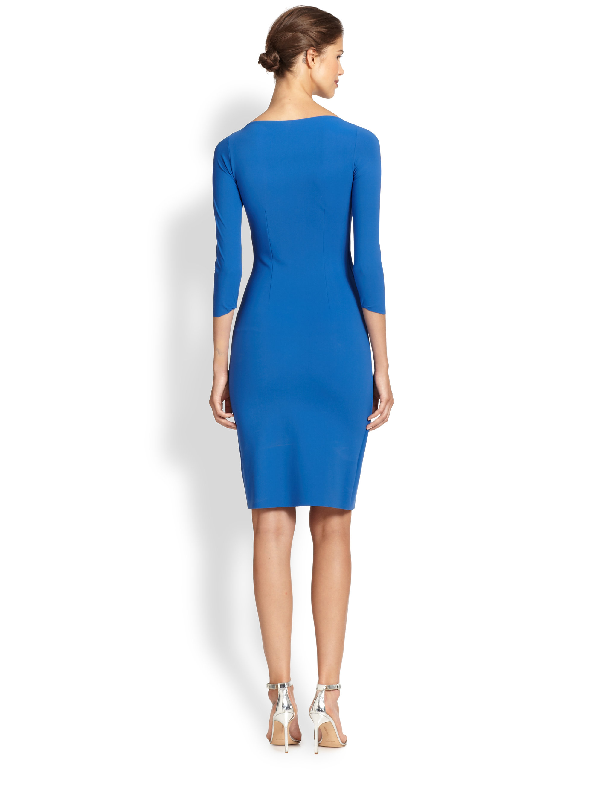 lyst la petite robe di chiara boni emerentienne pleat detail dress in blue. Black Bedroom Furniture Sets. Home Design Ideas