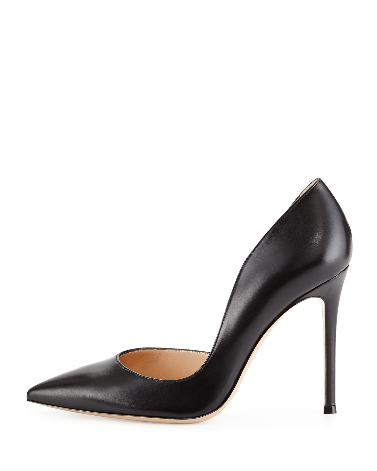 Lyst Gianvito Rossi Leather Open Side Pump In Black