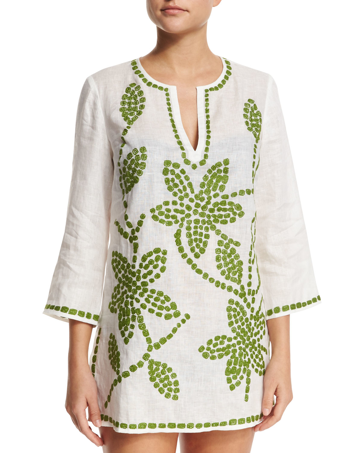 b24f1c83b52 Lyst - Tory Burch Embroidered-floral Tunic Coverup in White