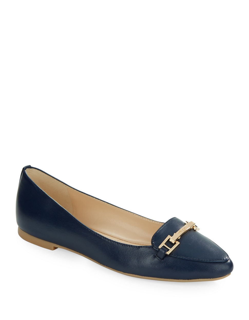 Flat Navy Leather Pointed Shoes