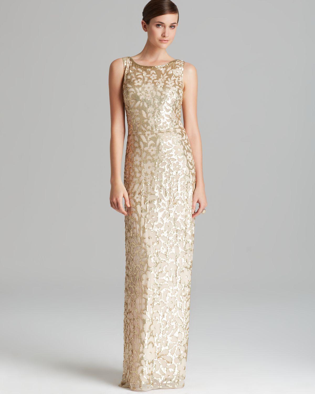 Lyst - Aidan Mattox Column Gown Sleeveless Sequin Patterned in Metallic