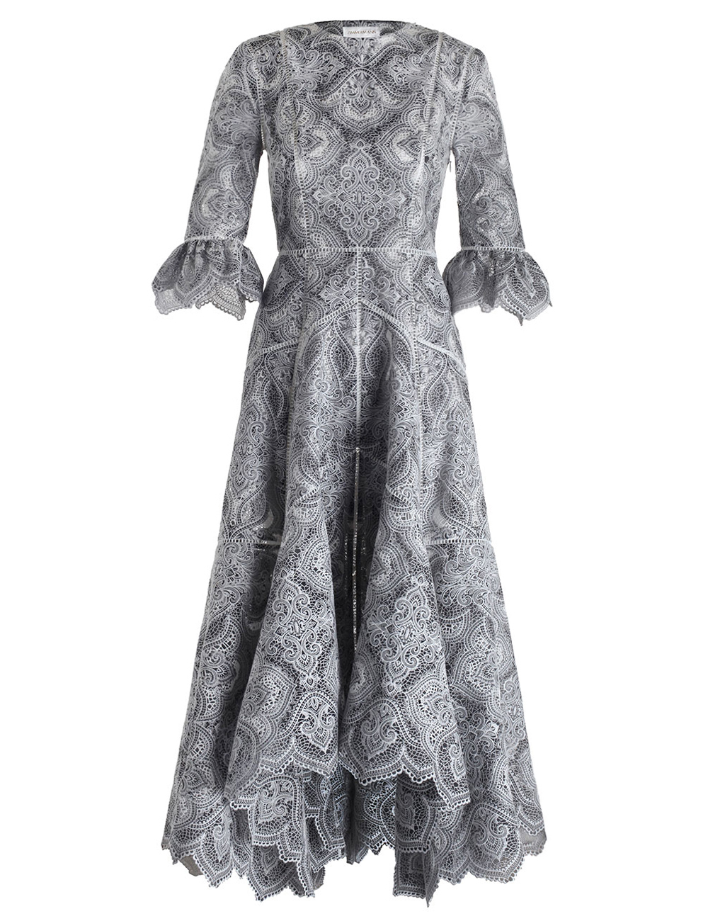 Zimmermann empire embroidered dress in gray lyst