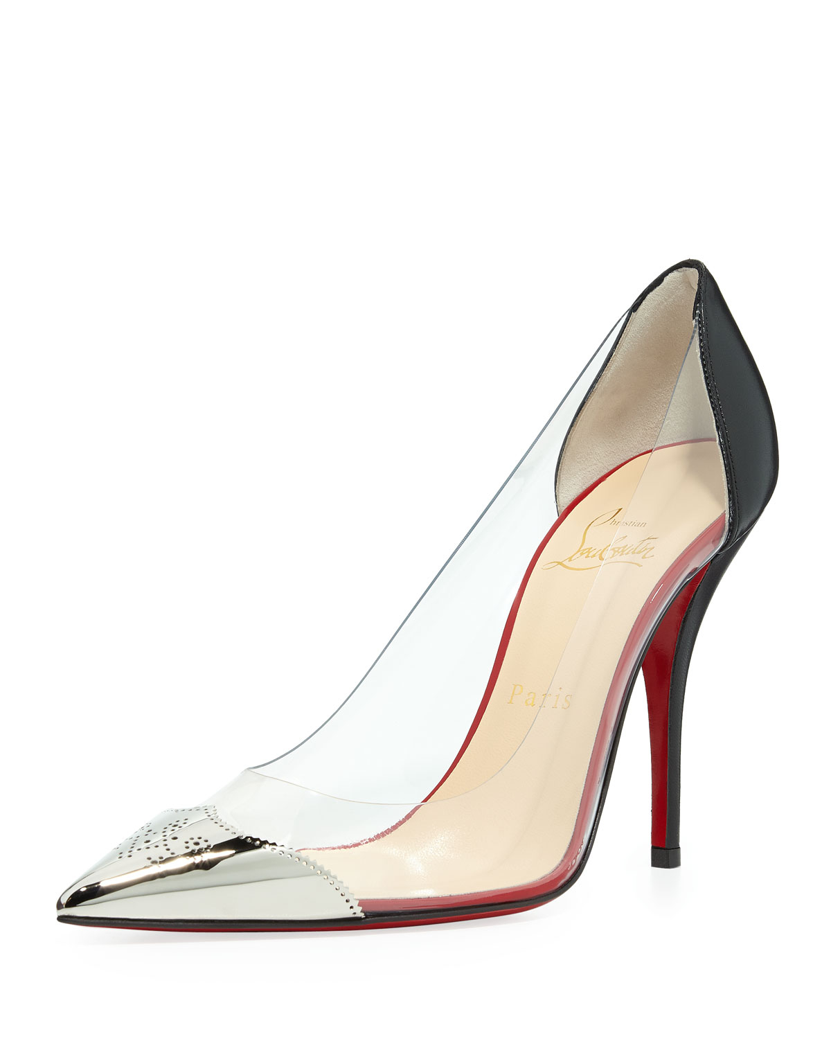 fe954a5646f8 Lyst - Christian Louboutin Djalouzi Pvc Captoe Red Sole Pump Black ...
